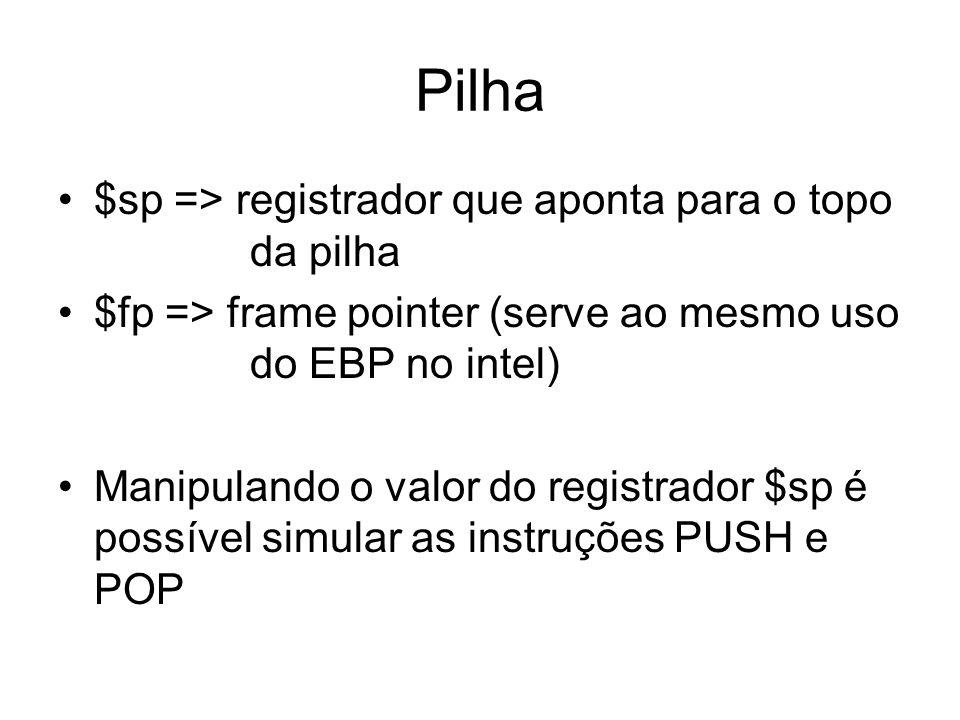 Pilha $sp => registrador que aponta para o topo da pilha