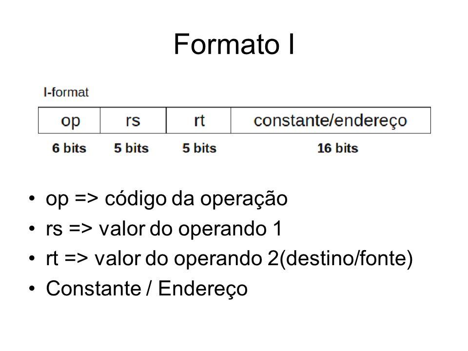 Formato I op => código da operação rs => valor do operando 1