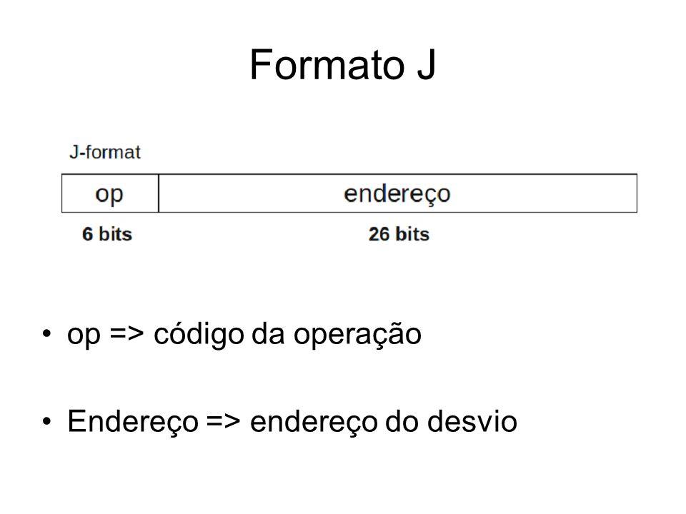 Formato J op => código da operação