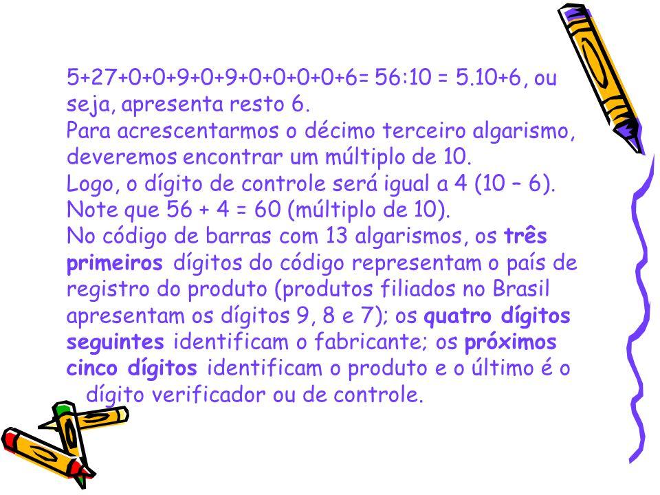 5+27+0+0+9+0+9+0+0+0+0+6= 56:10 = 5.10+6, ou seja, apresenta resto 6. Para acrescentarmos o décimo terceiro algarismo,