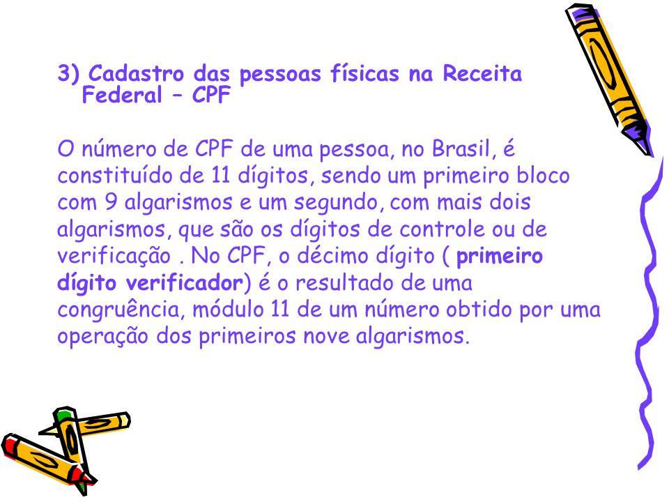 3) Cadastro das pessoas físicas na Receita Federal – CPF