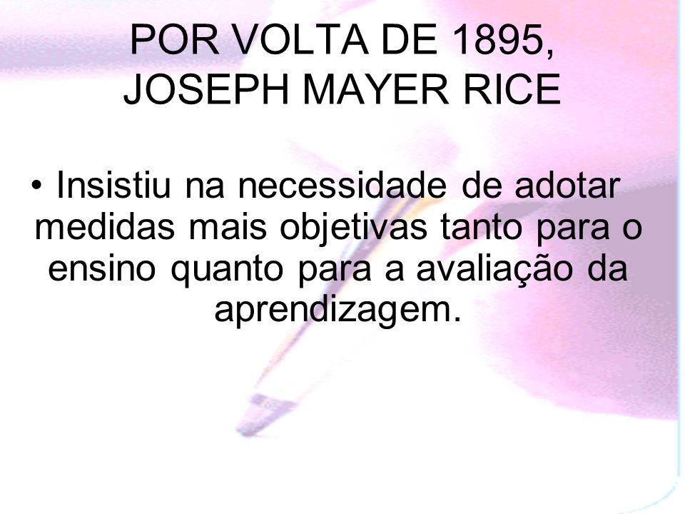 POR VOLTA DE 1895, JOSEPH MAYER RICE