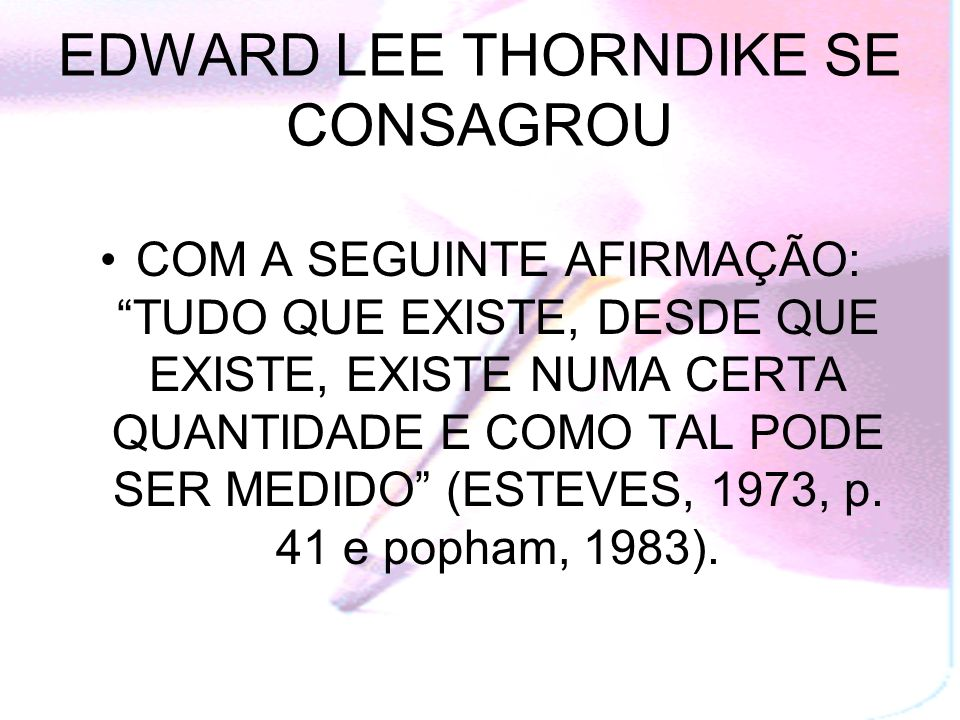 EDWARD LEE THORNDIKE SE CONSAGROU