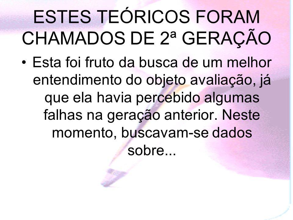 ESTES TEÓRICOS FORAM CHAMADOS DE 2ª GERAÇÃO