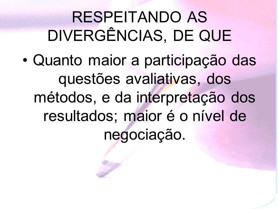 RESPEITANDO AS DIVERGÊNCIAS, DE QUE