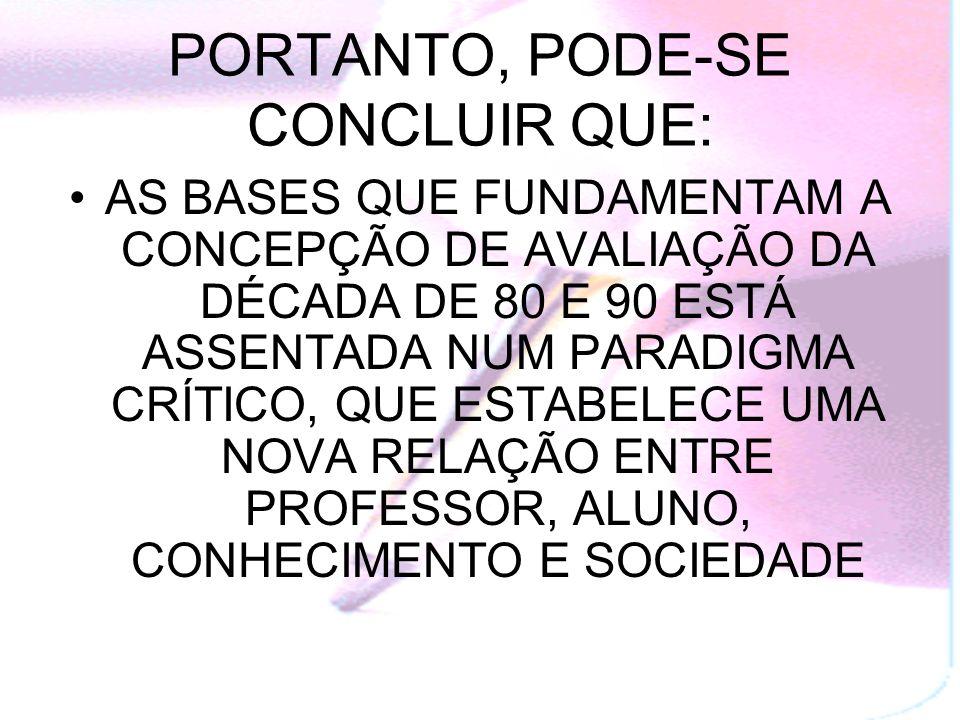 PORTANTO, PODE-SE CONCLUIR QUE:
