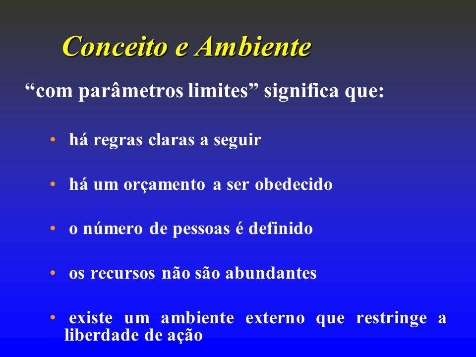 Conceito e Ambiente com parâmetros limites significa que: