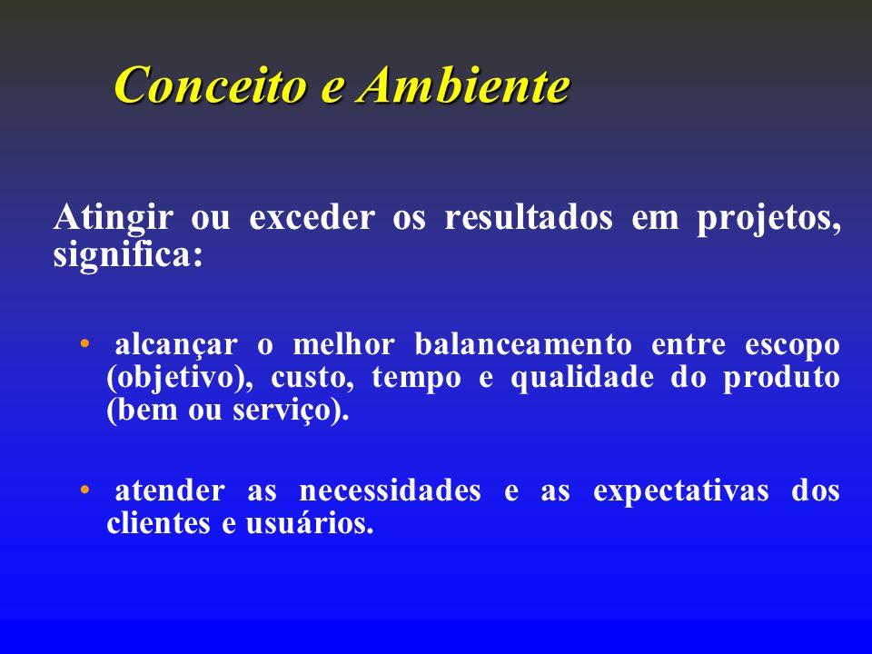 Conceito e Ambiente Atingir ou exceder os resultados em projetos, significa: