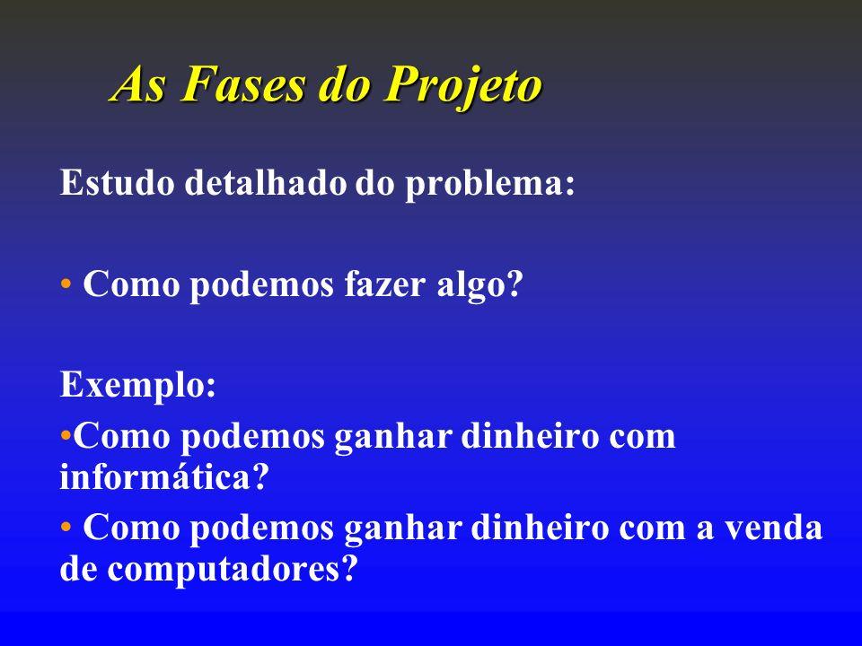 As Fases do Projeto Estudo detalhado do problema: