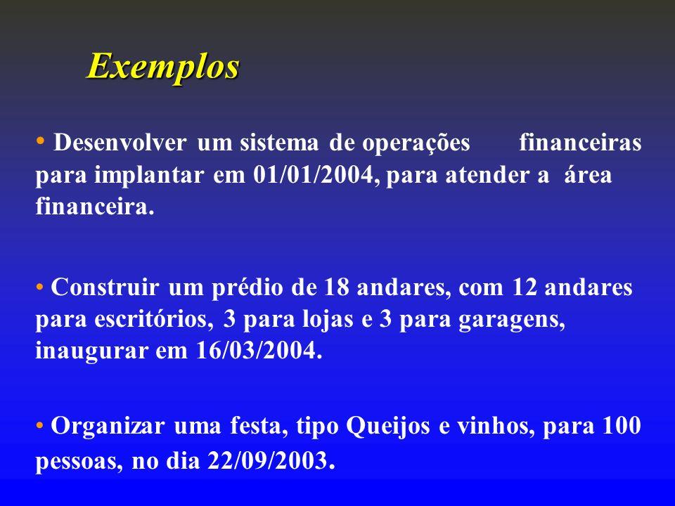 Exemplos Desenvolver um sistema de operações financeiras para implantar em 01/01/2004, para atender a área financeira.