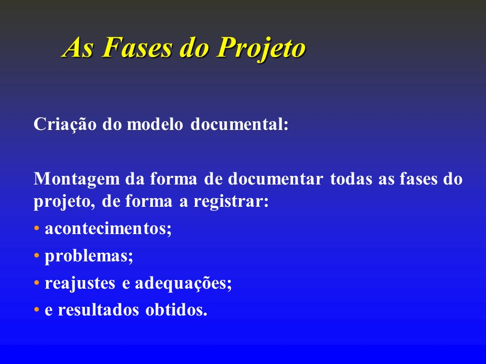 As Fases do Projeto Criação do modelo documental: