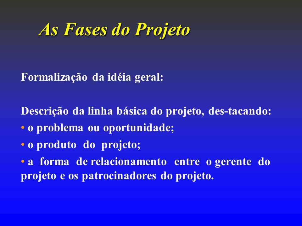 As Fases do Projeto Formalização da idéia geral: