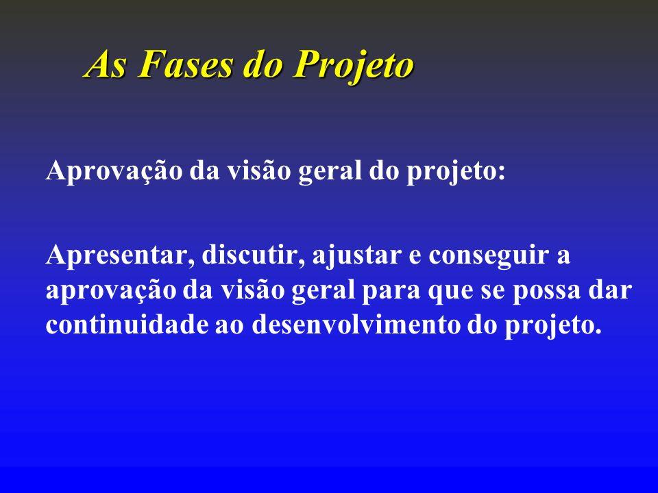 As Fases do Projeto Aprovação da visão geral do projeto: