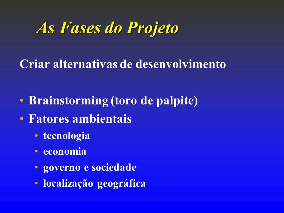 As Fases do Projeto Criar alternativas de desenvolvimento
