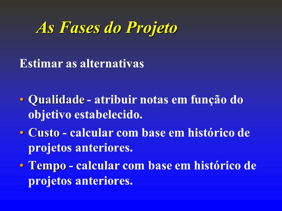 As Fases do Projeto Estimar as alternativas