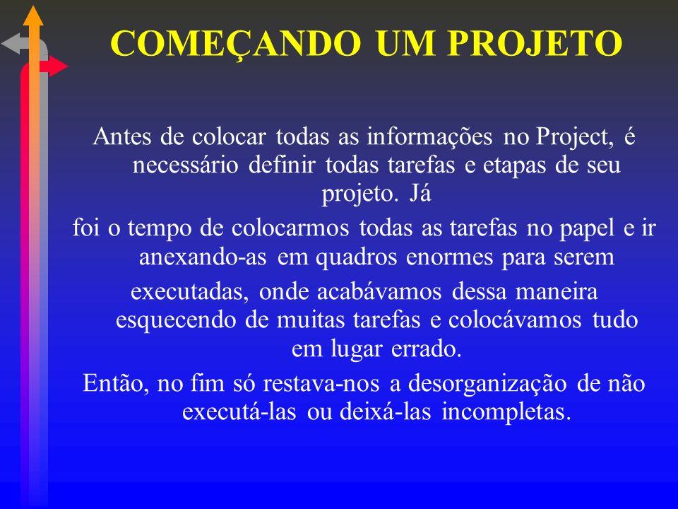 COMEÇANDO UM PROJETO Antes de colocar todas as informações no Project, é necessário definir todas tarefas e etapas de seu projeto. Já.