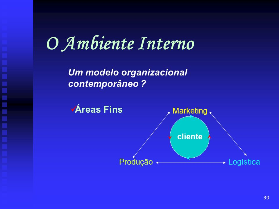 O Ambiente Interno Um modelo organizacional contemporâneo Áreas Fins