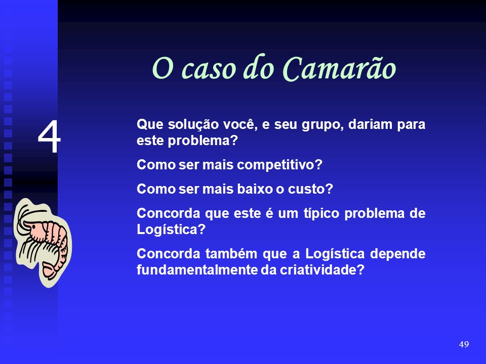 O caso do Camarão 4. Que solução você, e seu grupo, dariam para este problema Como ser mais competitivo