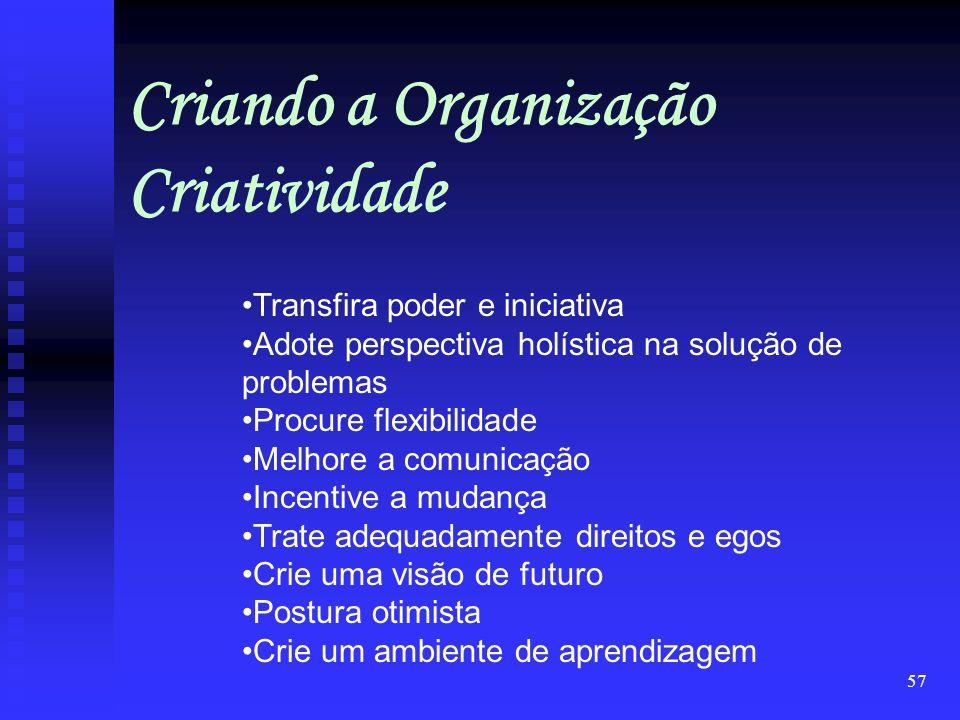 Criando a Organização Criatividade
