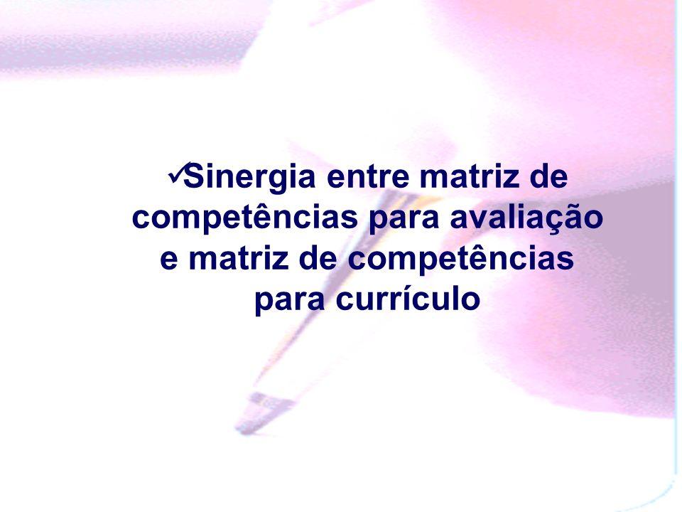 Sinergia entre matriz de competências para avaliação e matriz de competências para currículo