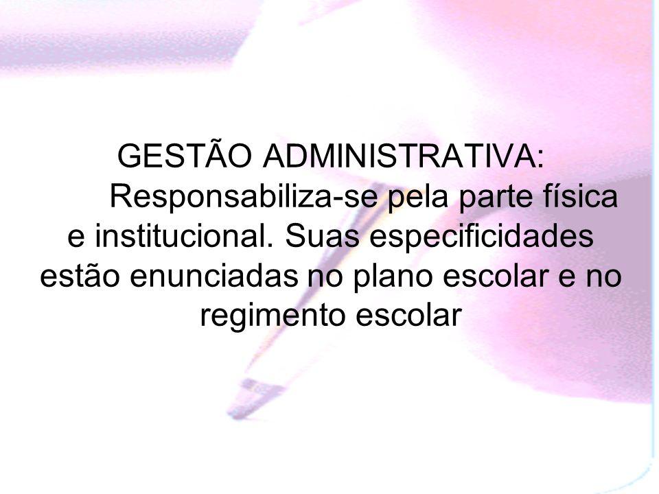 GESTÃO ADMINISTRATIVA: Responsabiliza-se pela parte física e institucional.