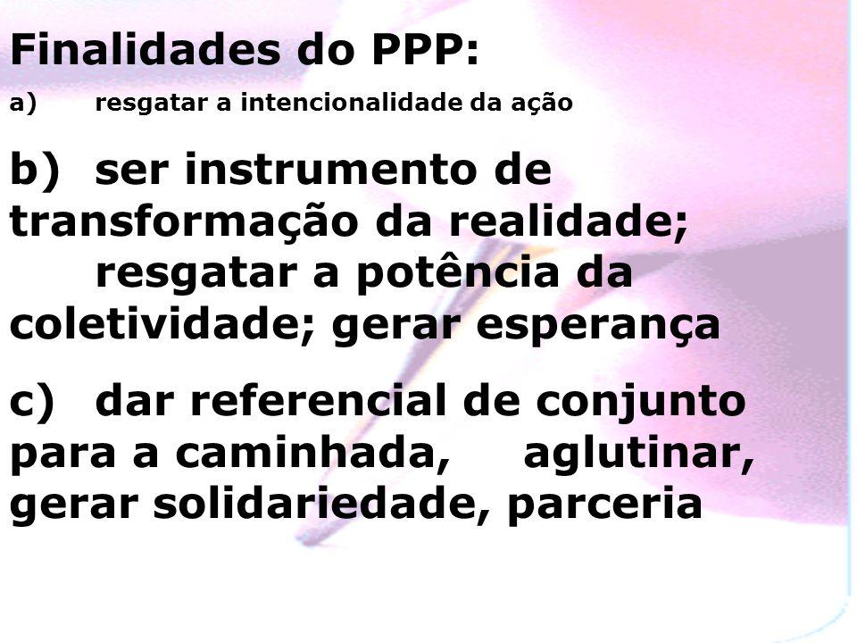 Finalidades do PPP:a) resgatar a intencionalidade da ação.
