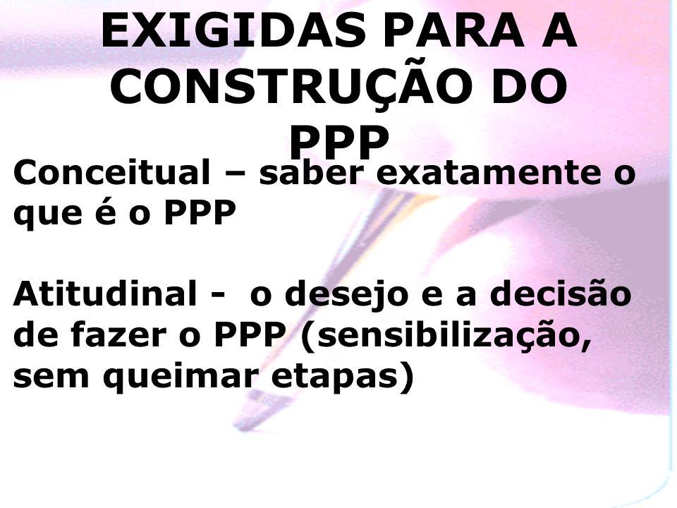 COMPETÊNCIAS EXIGIDAS PARA A CONSTRUÇÃO DO PPP