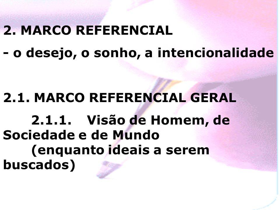 2. MARCO REFERENCIAL- o desejo, o sonho, a intencionalidade. 2.1. MARCO REFERENCIAL GERAL.
