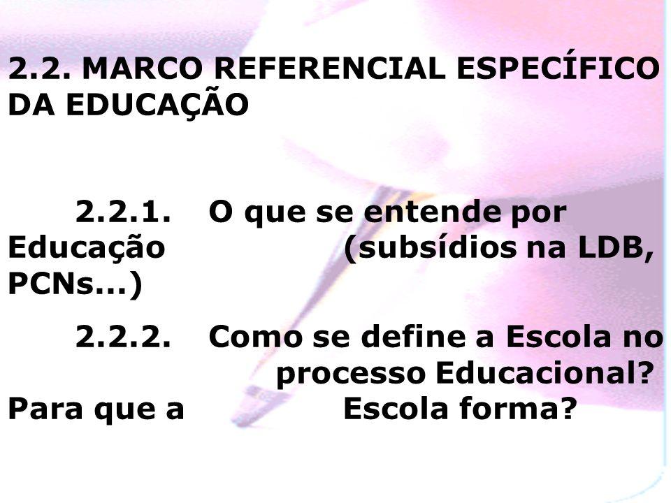 2.2. MARCO REFERENCIAL ESPECÍFICO DA EDUCAÇÃO