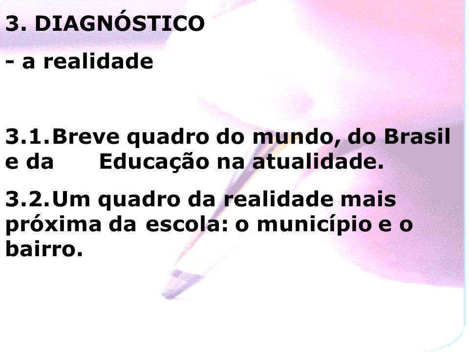 3. DIAGNÓSTICO - a realidade. 3.1. Breve quadro do mundo, do Brasil e da Educação na atualidade.