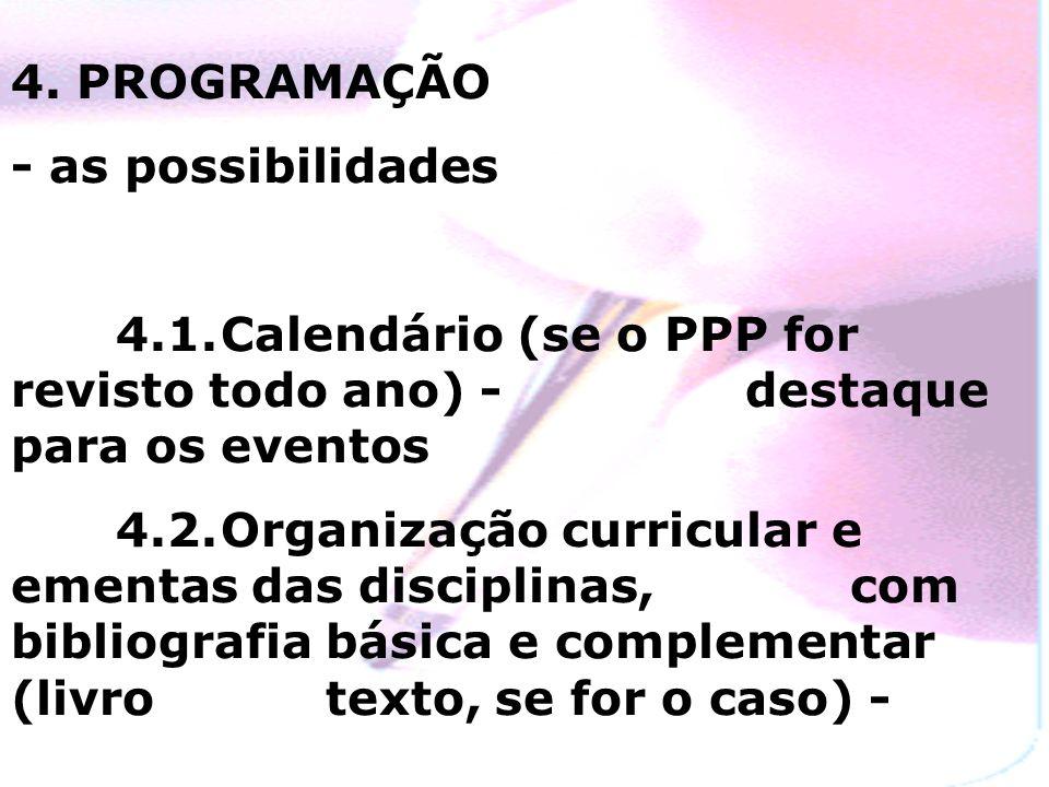 4. PROGRAMAÇÃO - as possibilidades. 4.1. Calendário (se o PPP for revisto todo ano) - destaque para os eventos.