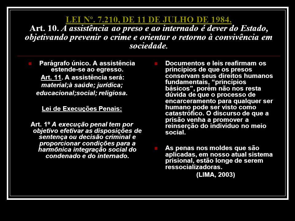 LEI Nº. 7.210, DE 11 DE JULHO DE 1984. Art. 10. A assistência ao preso e ao internado é dever do Estado, objetivando prevenir o crime e orientar o retorno à convivência em sociedade.