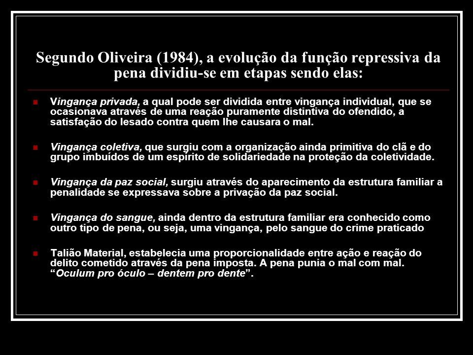 Segundo Oliveira (1984), a evolução da função repressiva da pena dividiu-se em etapas sendo elas: