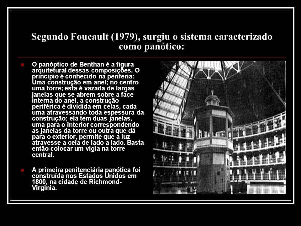 Segundo Foucault (1979), surgiu o sistema caracterizado como panótico: