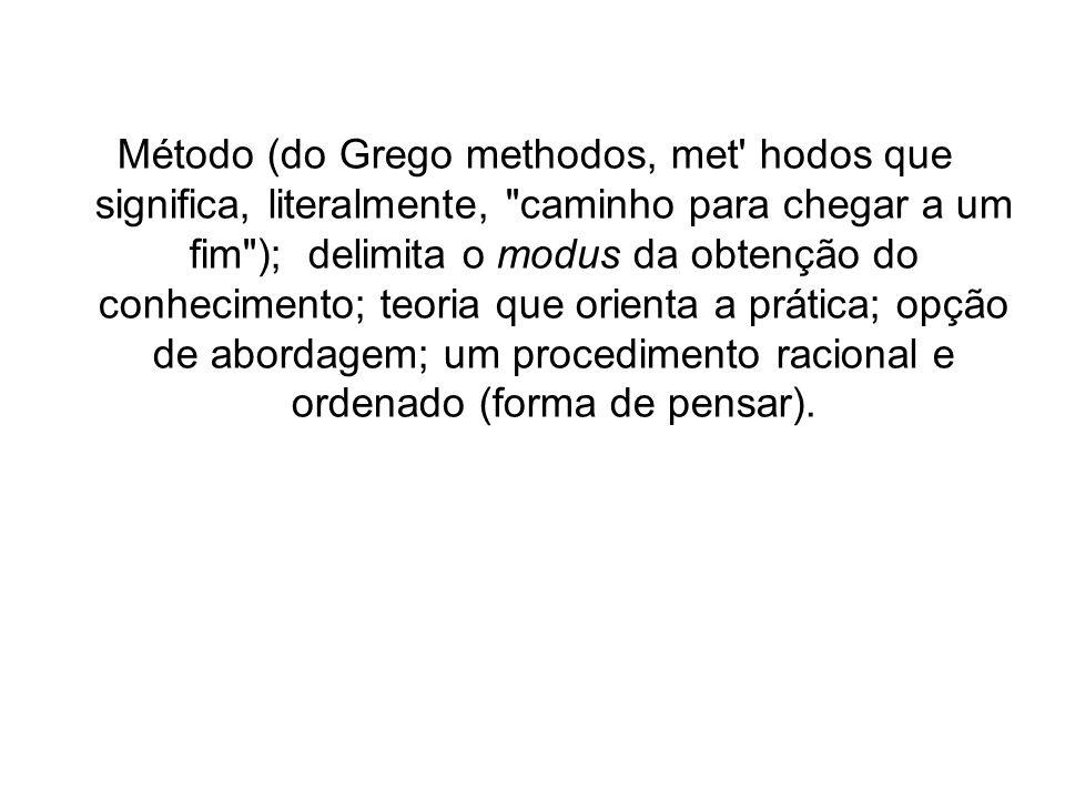 Método (do Grego methodos, met hodos que significa, literalmente, caminho para chegar a um fim ); delimita o modus da obtenção do conhecimento; teoria que orienta a prática; opção de abordagem; um procedimento racional e ordenado (forma de pensar).