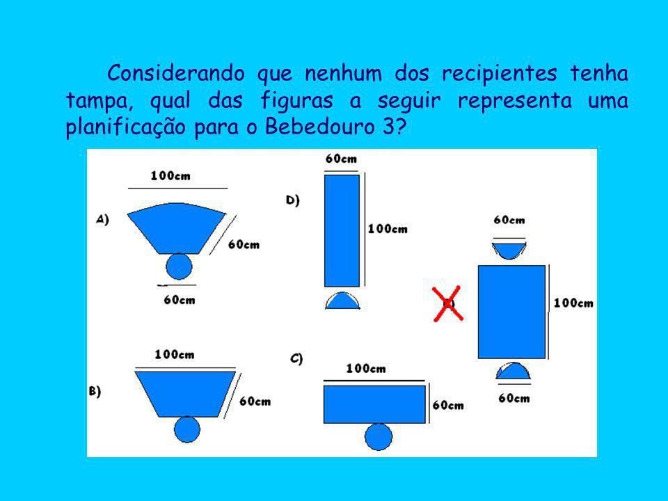Considerando que nenhum dos recipientes tenha tampa, qual das figuras a seguir representa uma planificação para o Bebedouro 3
