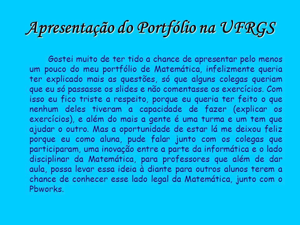 Apresentação do Portfólio na UFRGS