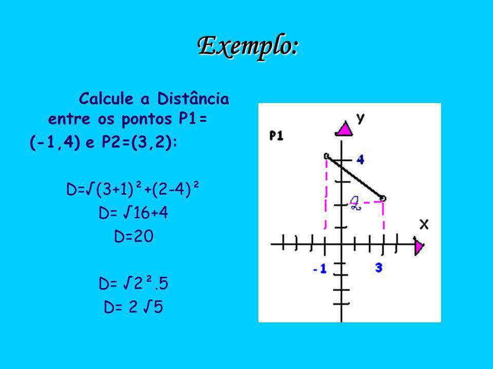 Exemplo: Calcule a Distância entre os pontos P1= (-1,4) e P2=(3,2):