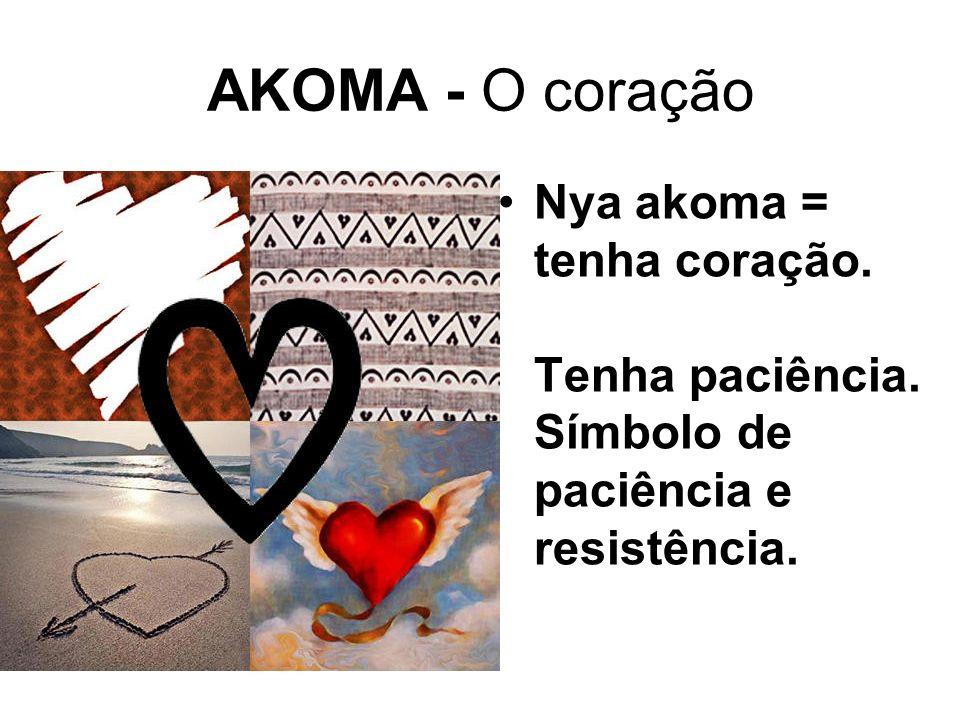 AKOMA - O coração Nya akoma = tenha coração. Tenha paciência. Símbolo de paciência e resistência.