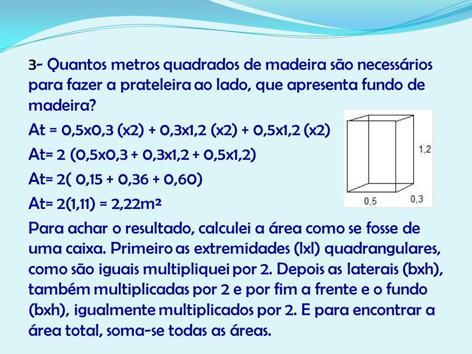 3- Quantos metros quadrados de madeira são necessários para fazer a prateleira ao lado, que apresenta fundo de madeira.