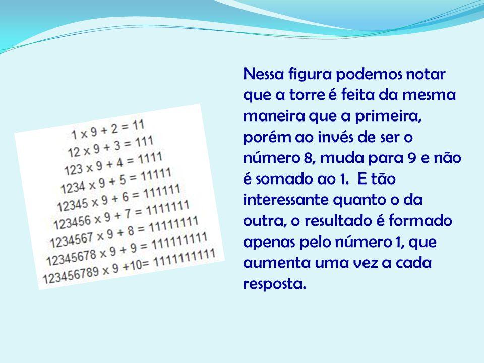 Nessa figura podemos notar que a torre é feita da mesma maneira que a primeira, porém ao invés de ser o número 8, muda para 9 e não é somado ao 1.