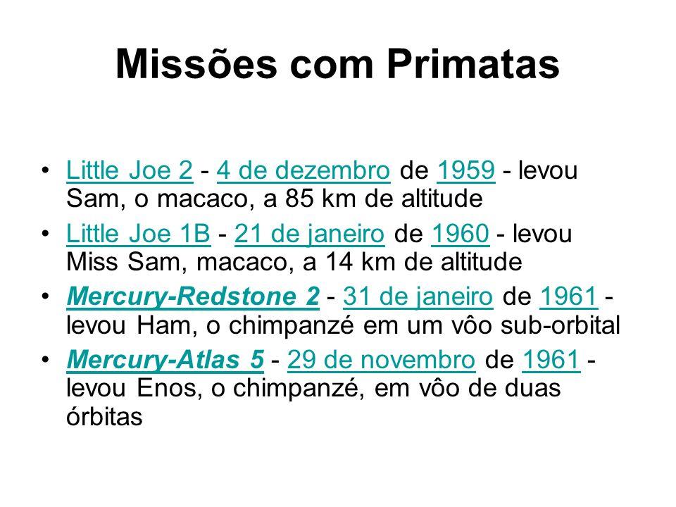 Missões com Primatas Little Joe 2 - 4 de dezembro de 1959 - levou Sam, o macaco, a 85 km de altitude.