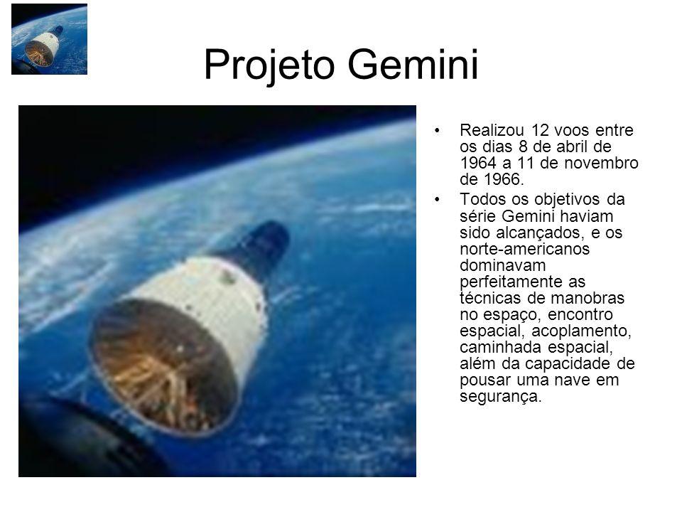 Projeto Gemini Realizou 12 voos entre os dias 8 de abril de 1964 a 11 de novembro de 1966.