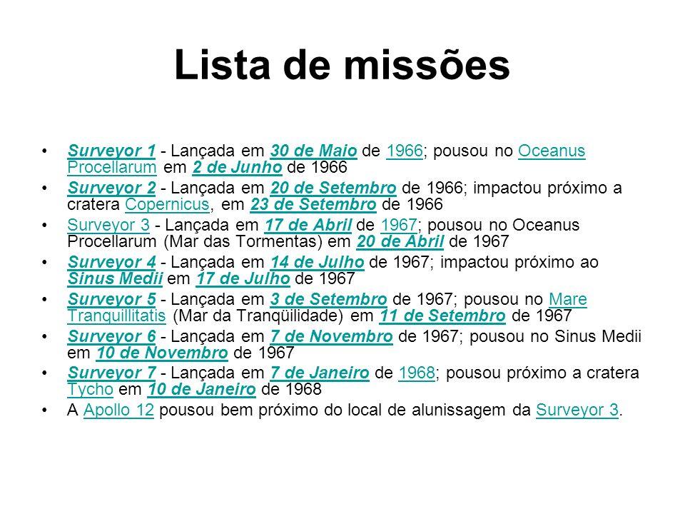 Lista de missões Surveyor 1 - Lançada em 30 de Maio de 1966; pousou no Oceanus Procellarum em 2 de Junho de 1966.