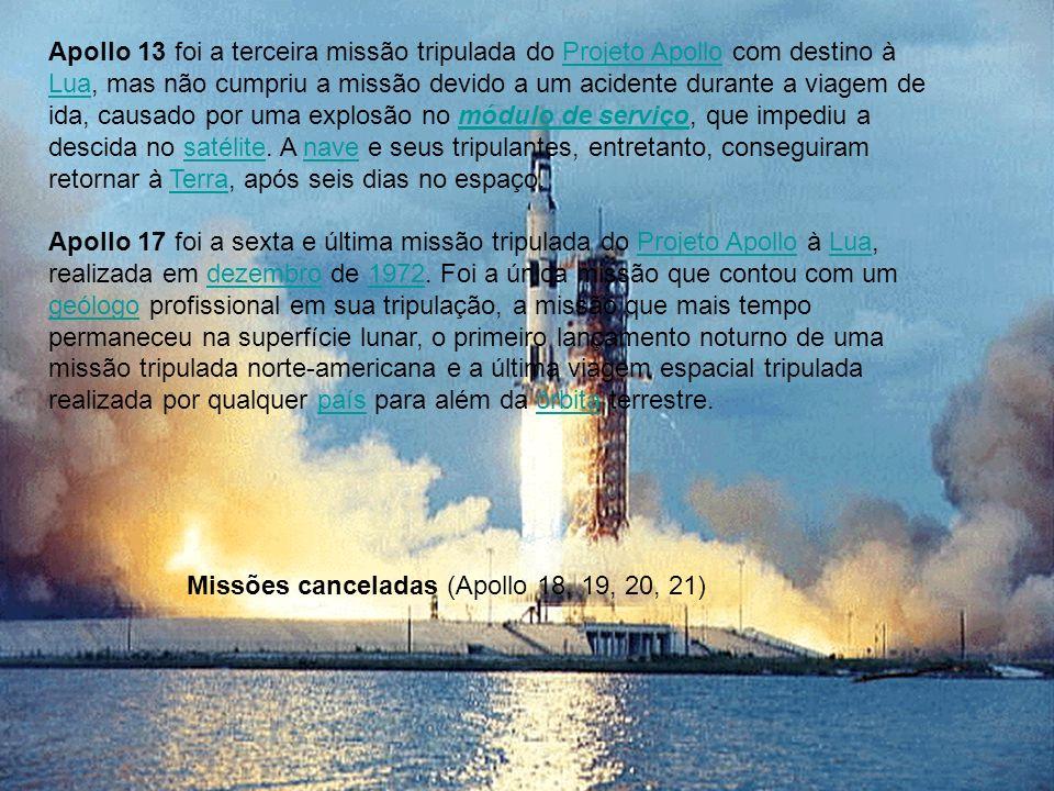 Apollo 13 foi a terceira missão tripulada do Projeto Apollo com destino à Lua, mas não cumpriu a missão devido a um acidente durante a viagem de ida, causado por uma explosão no módulo de serviço, que impediu a descida no satélite. A nave e seus tripulantes, entretanto, conseguiram retornar à Terra, após seis dias no espaço.