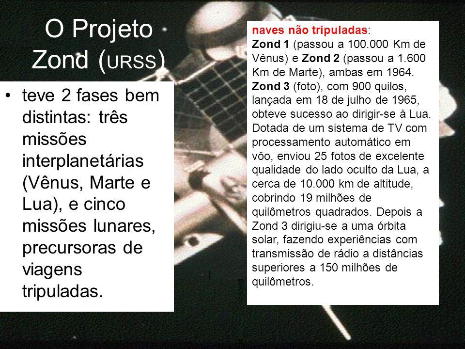 O Projeto Zond (URSS) naves não tripuladas: Zond 1 (passou a 100.000 Km de Vênus) e Zond 2 (passou a 1.600 Km de Marte), ambas em 1964.