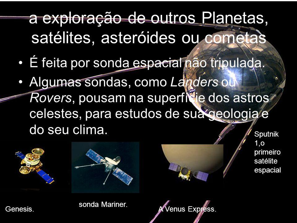 a exploração de outros Planetas, satélites, asteróides ou cometas
