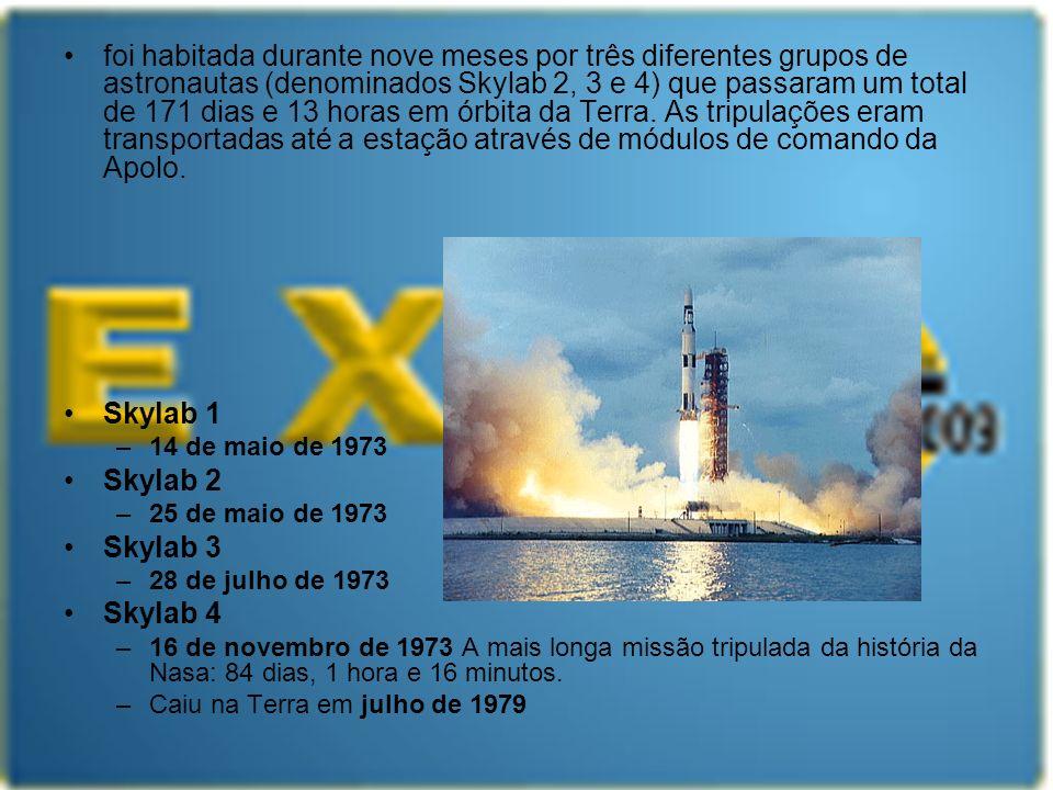 foi habitada durante nove meses por três diferentes grupos de astronautas (denominados Skylab 2, 3 e 4) que passaram um total de 171 dias e 13 horas em órbita da Terra. As tripulações eram transportadas até a estação através de módulos de comando da Apolo.