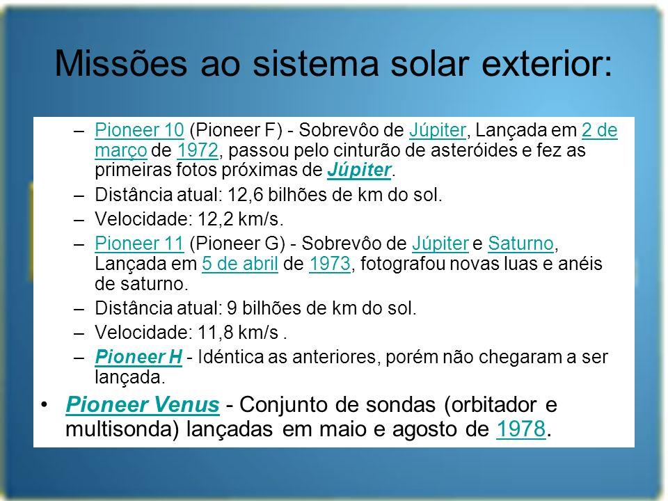 Missões ao sistema solar exterior: