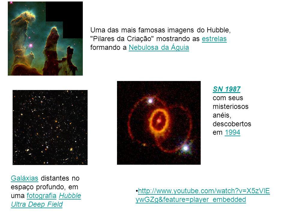 Uma das mais famosas imagens do Hubble, Pilares da Criação mostrando as estrelas formando a Nebulosa da Águia